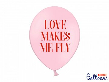 Balony 30 cm, Love makes me fly, Pastel Baby Pink (1 op. / 6 szt.)