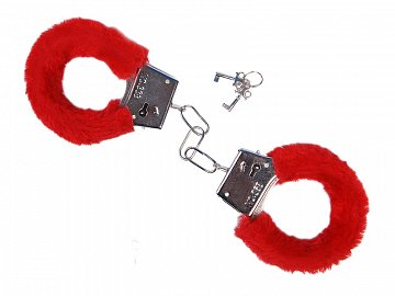 Handcuffs with fur, red