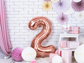 "Foil Balloon Number ""2"", 86cm, rose gold"