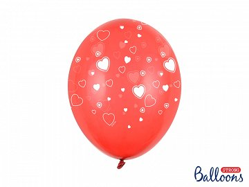 Balloons 30cm, Hearts, Crystal Poppy Red (1 pkt / 6 pc.)