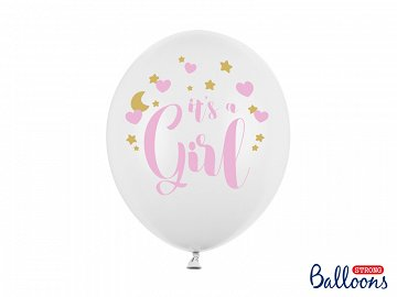 Balloons 30cm, It's a Girl, Pastel Pure White (1 pkt / 6 pc.)