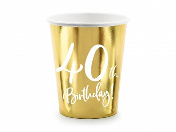 Paper cups 40th Birthday, gold, 220ml (1 pkt / 6 pc.)