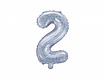 "Foil Balloon Number ""2"", 35cm, holographic"