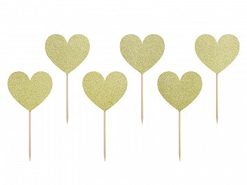 Cupcake toppers Sweet Love - Hearts (1 pkt / 6 pc.)