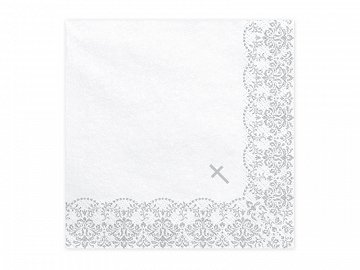 Napkins First Communion - Ornament, 33x33cm, silver (1 pkt / 20 pc.)