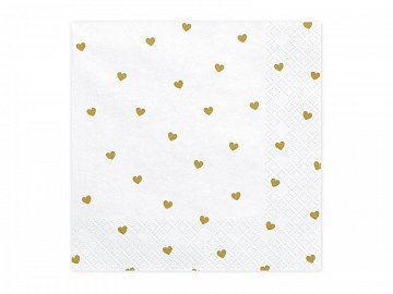 Napkins Hearts, white, 33x33cm (1 pkt / 20 pc.)