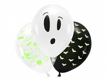 Blacklight balloons 27cm, BOO!, mix (1 pkt / 3 pc.)