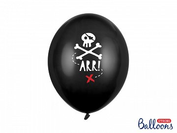 Balloons 30cm, Pirates Party, Pastel Black (1 pkt / 6 pc.)