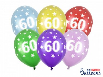Balony 30cm, 60th Birthday, Metallic Mix (1 op. / 6 szt.)