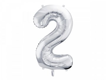 "Foil Balloon Number ""2"", 86cm, silver"