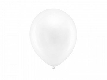 Rainbow Balloons 23cm metallic, white (1 pkt / 100 pc.)