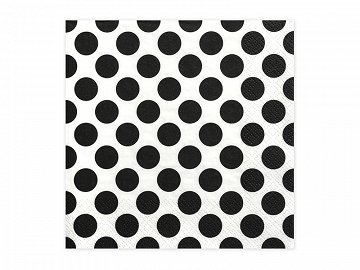 Napkins Dots, black, 33 x 33 cm (1 pkt / 20 pc.)