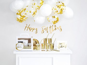 Party decorations set - Birthday, gold (1 pkt / 60 pc.)