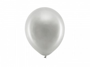 Rainbow Balloons 23cm metallic, silver (1 pkt / 100 pc.)
