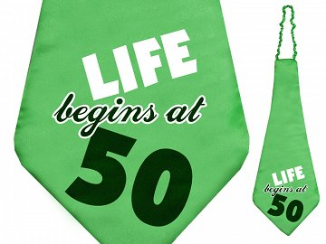Krawat Life begins at 50, 59cm (1 karton / 40 szt.)