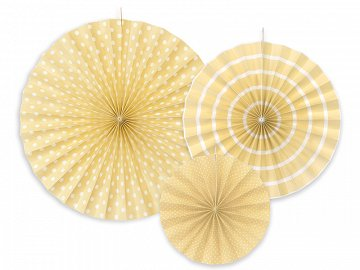 Decorative rosettes, cream (1 pkt / 3 pc.)