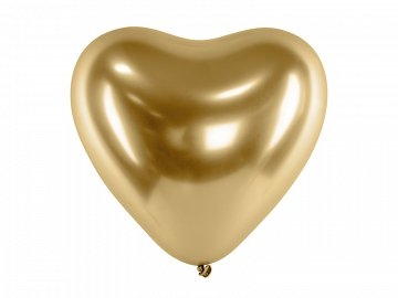 Glossy Balloons 30cm, Hearts, gold (1 pkt / 50 pc.)