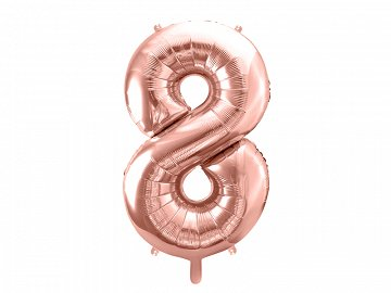 "Foil Balloon Number ""8"", 86cm, rose gold"