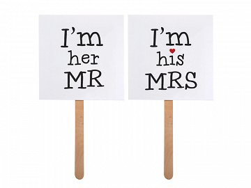 Karteczki I'm his MRS/I'm her MR (1 karton / 40 op.) (1 op. / 2 szt.)