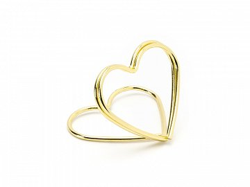 Place card holders Hearts, gold, 2.5 cm (1 ctn / 50 pkt) (1 pkt / 10 pc.)