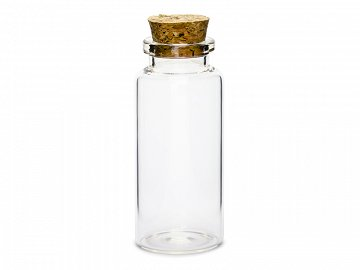 Glass bottles with cork plug, 7.5cm (1 pkt / 12 pc.)