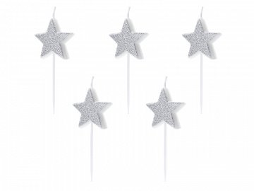 Birthday candles Stars, silver, 3.5cm (1 pkt / 5 pc.)