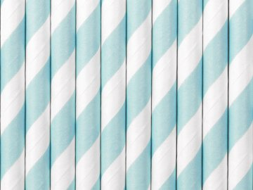 Paper Straws, light blue, 19.5cm (1 pkt / 10 pc.)