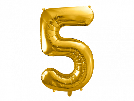 "Foil Balloon Number ""5"", 86cm, gold"