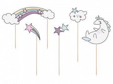 Cake topper Unicorn, 13-23.5 cm (1 pkt / 5 pc.)