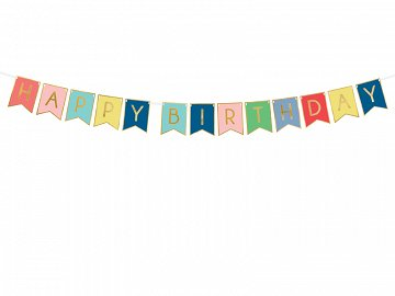 Baner Happy Birthday, mix, 15 x 175 cm (1 karton / 50 op.)