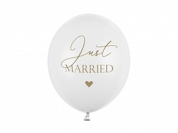 Balony 30cm, Just Married, P. Pure White (1 op. / 50 szt.)