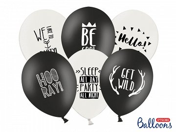 Balony 30cm, Party, P. Black, P.Pure White (1 op. / 6 szt.)