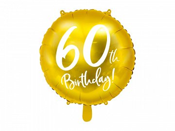 Foil Balloon 60th Birthday, gold, 45 cm