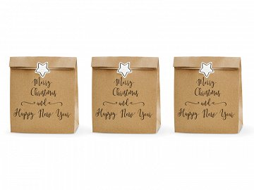 Gift bags Merry Christmas and Happy New Year, kraft, 25x11x27cm (1 pkt / 3 pc.)