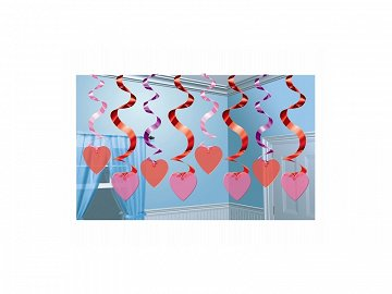Swirl decoration Hearts, red and pink, 61cm (1 pkt / 15 pc.)
