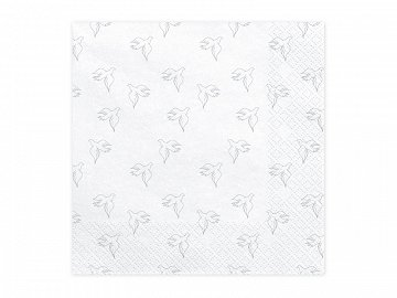 Napkins First Communion - Dove, 33x33cm, silver (1 pkt / 20 pc.)