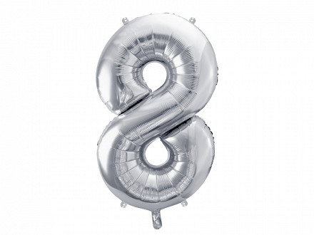 "Foil Balloon Number ""8"", 86cm, silver"