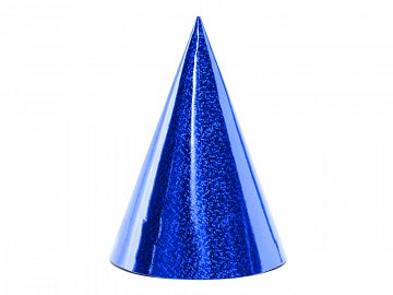 Holographic party hats, gold, 10cm (1 pkt / 6 pc.)