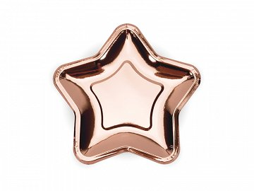 Paper Plates Star, rose gold, 18cm (1 pkt / 6 pc.)