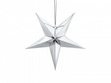 Paper star, 45cm, silver