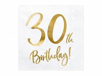 Napkins 30th Birthday, white, 33x33cm (1 pkt / 20 pc.)