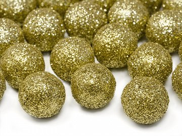 Glittery decorations Ball, gold, 2cm (1 pkt / 25 pc.)