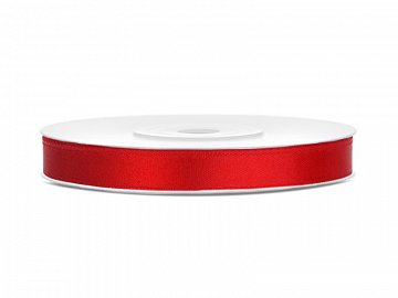 Satin Ribbon, red, 6mm/25m