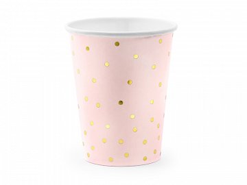 Cups Polka Dots, light pink, 260ml (1 pkt / 6 pc.)