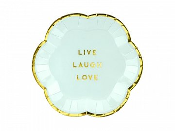Plates Yummy - Live Laugh Love, light blue, 13cm (1 pkt / 6 pc.)
