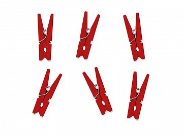 Wooden pegs, red (1 pkt / 20 pc.)