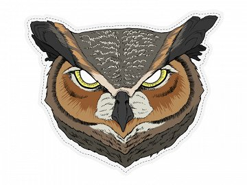 Mask Horned Owl, 28 x 23 cm