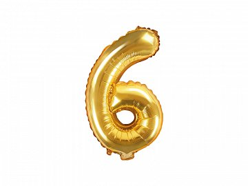"Foil Balloon Number ""6"", 35cm, gold"