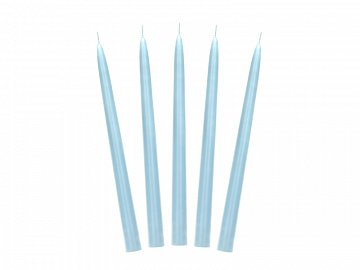 Taper candle, matt, sky-blue, 24cm (1 pkt / 10 pc.)
