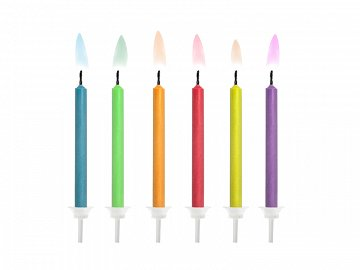 Birthday candles Coloured Flames, mix (1 pkt / 6 pc.)